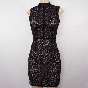 Lulu's Black Lace Fitted Dress, Sz S